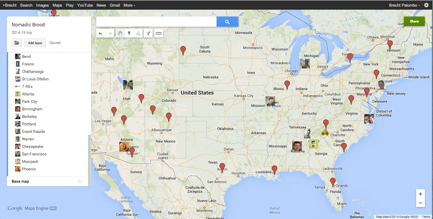 cross country road trip planning map