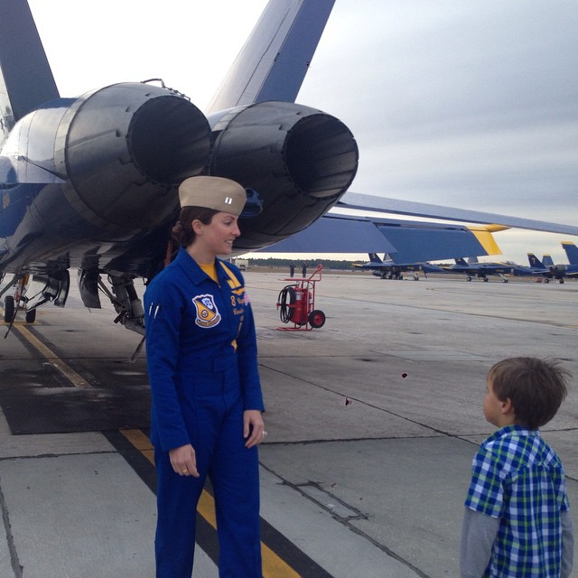 Our friend Blue Angel Capt Corrie Mays showing her plane #7 to Vince.